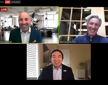 Ralph Izzo participating in CleanTech webinar, alongside Andrew Yang, former Democratic Presidential candidate and Aaron Price, CEO, NJ Tech Council.