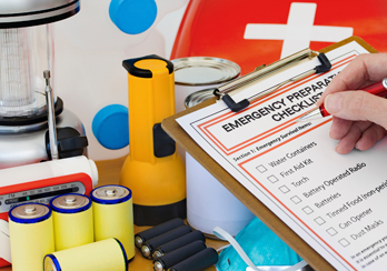 Medical supplies and a checklist